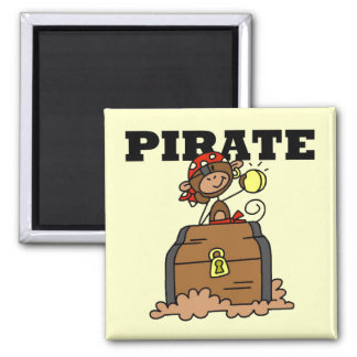 Monkey Pirate With Treasure Tshirts and Gifts 2 Inch Square Magnet