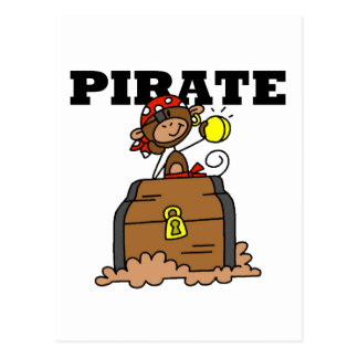 Monkey Pirate With Treasure Tshirts and Gifts Postcard