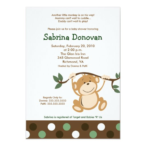 MONKEY PLAY 5x7 Brown/Green Baby Shower Card