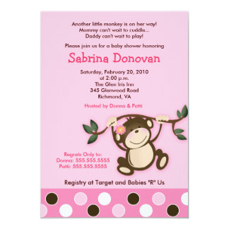 MONKEY PLAY 5x7 PINK GIRL BABY SHOWER 5x7 Paper Invitation Card