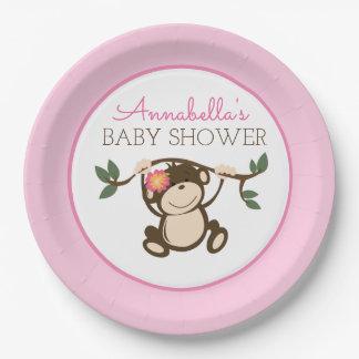 Monkey Play Girl Baby Shower Plate