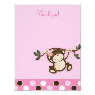 Monkey Play Pink 4x5 Flat Thank you note Card
