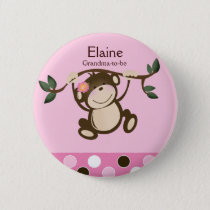 MONKEY PLAY PINK NAME TAG Custom Button