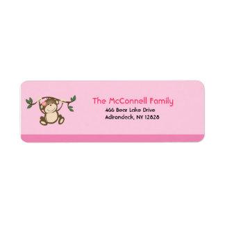 Monkey Play Pink PRINTABLE ADDRESS LABELS