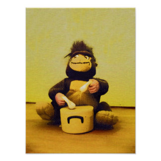 Monkey playing drums poster