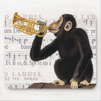 Monkey Playing Trumpet Mouse Pad