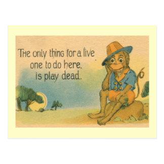 Monkey Plays Dead 1914 Comic Vintage Postcard