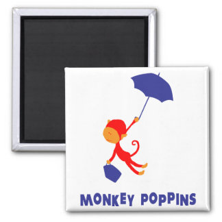 Monkey Poppins 2 Inch Square Magnet