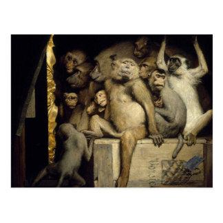 Monkey Postcard: Monkeys Art Critics Postcard