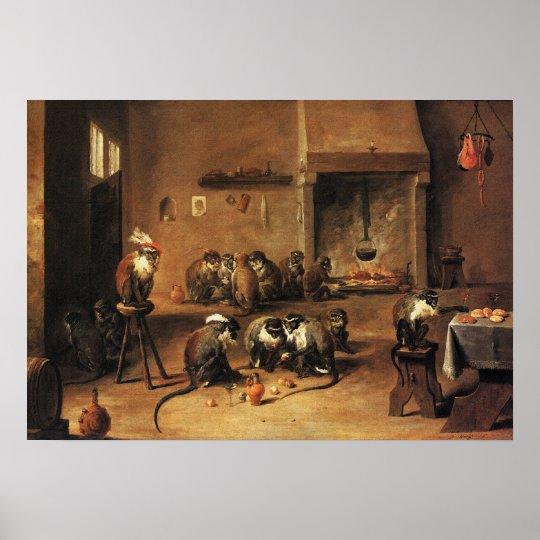 Monkey Poster Print: Monkeys in Kitchen by Teniers