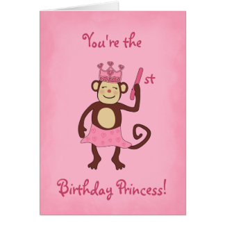 Monkey Princess 1st Birthday Card