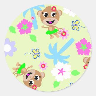 monkey print  allover classic round sticker