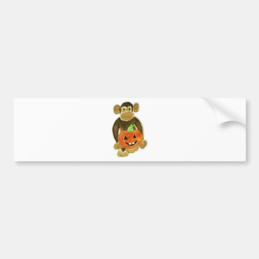 Monkey Pumpkin Bumper Stickers