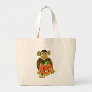 Monkey Pumpkin Large Tote Bag