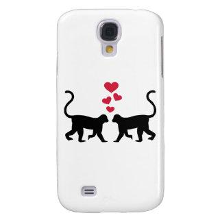 Monkey red hearts love galaxy s4 case