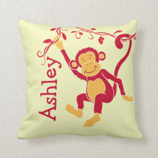 Monkey red yellow personalized name kids pillow