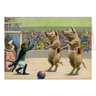 Monkey Ringmaster and Circus Pigs Card