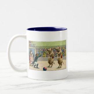 Monkey Ringmaster and Circus Pigs Two-Tone Coffee Mug