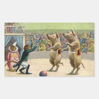 Monkey Ringmaster and Circus Pigs Rectangular Sticker