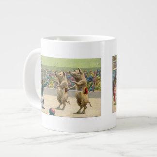 Monkey Ringmaster and Circus Pigs 20 Oz Large Ceramic Coffee Mug