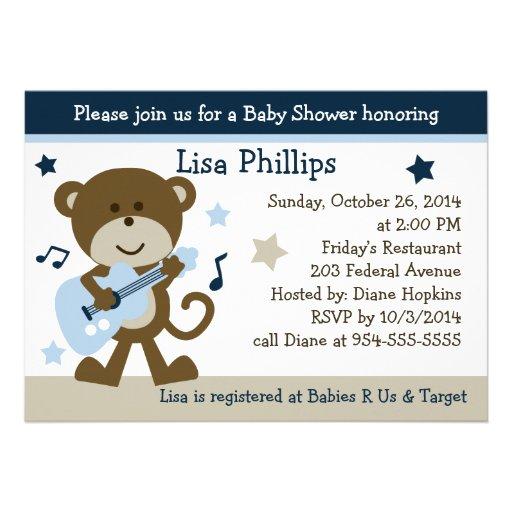 monkey rocker rockstar baby shower invitation 5 x 7 invitation ca