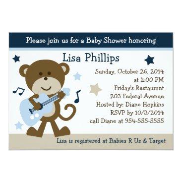 Toddler & Baby themed Monkey Rocker Rockstar Baby Shower Invitation