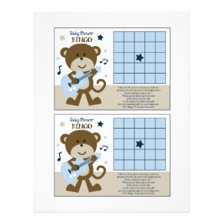 """Monkey Rockerstar/Rocker """"Baby Shower Bingo"""" sheet"""