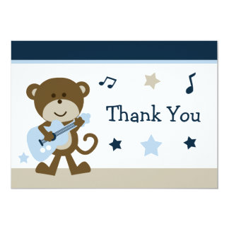 Monkey Rockstar Baby Shower Thank You Card