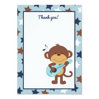 "Monkey Rockstar Guitar Thank you card 4.5"" X 6.25"" Invitation Card"