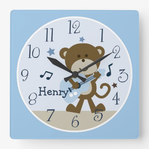 Monkey Rockstar/Musical Kid's Baby Nursery Clock