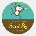 Monkey Round Bookplates Classic Round Sticker