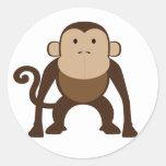 Monkey Round Stickers