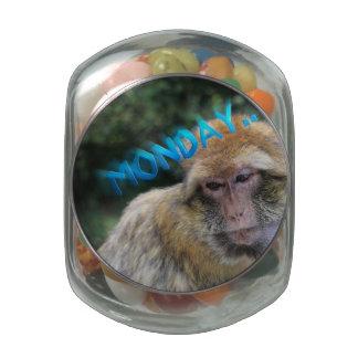 Monkey sad about monday glass jars