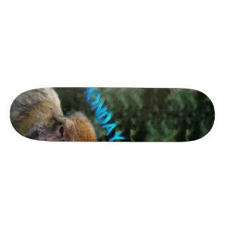 Monkey sad about monday skateboard deck