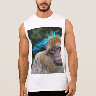 Monkey sad about monday sleeveless shirt