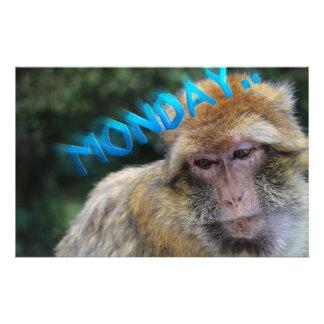 Monkey sad about monday stationery