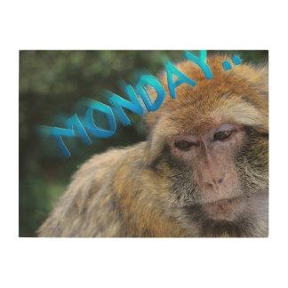 Monkey sad about monday wood wall decor