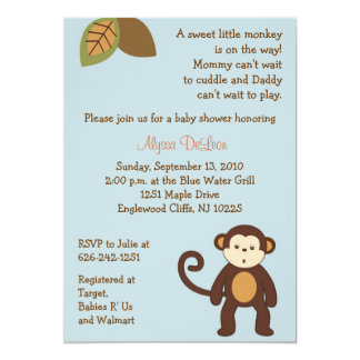 Monkey Safari Jungle Baby Shower Invitations