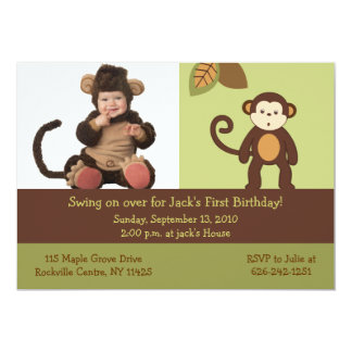 Monkey Safari Photo Birthday Invitations