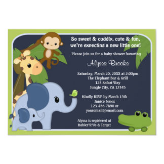 Monkey SAFARI SKY Baby Shower invitation jungle SS