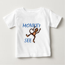 monkey see 2 in blue t-shirt
