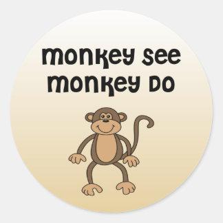 Monkey See, Monkey Do Classic Round Sticker