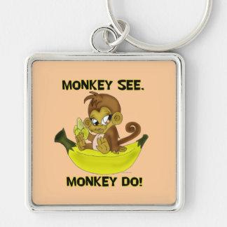 """""""Monkey See, Monkey Do"""" Keychain"""