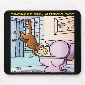 """Monkey See, Monkey Do"" Mouse Pad"