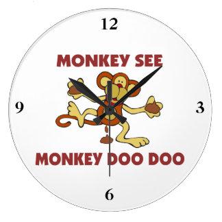 Monkey See Monkey Doo Doo Large Clock