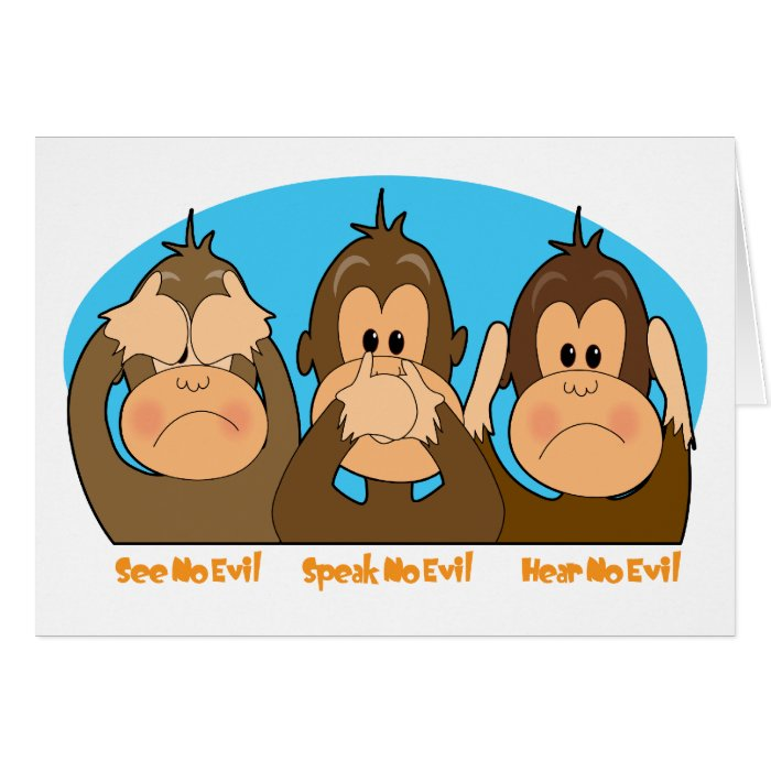 Monkey See Speak Hear Card