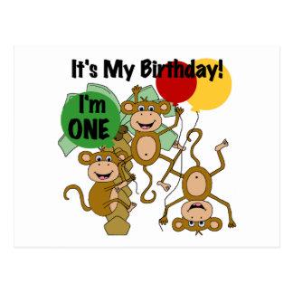 Monkey Shine 1st Birthday T-shirts and Gifts Postcard