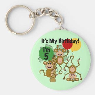 Monkey Shine 5th Birthday Tshirts and Gifts Basic Round Button Keychain