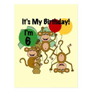 Monkey Shine 6th Birthday Tshirts and Gifts Postcard