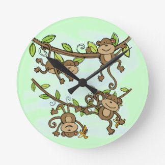 Monkey Shine Round Wall Clock